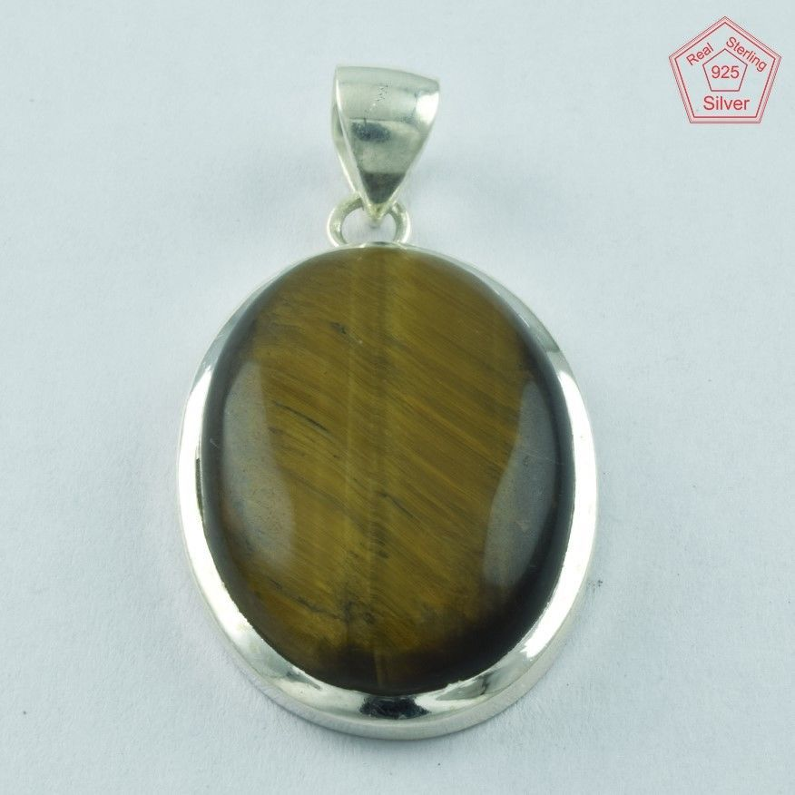 SIIPL _ OVAL TIGER EYE STONE 925 STERLING SILVER PENDANT P5050 #SilvexImagesIndiaPvtLtd #Pendant