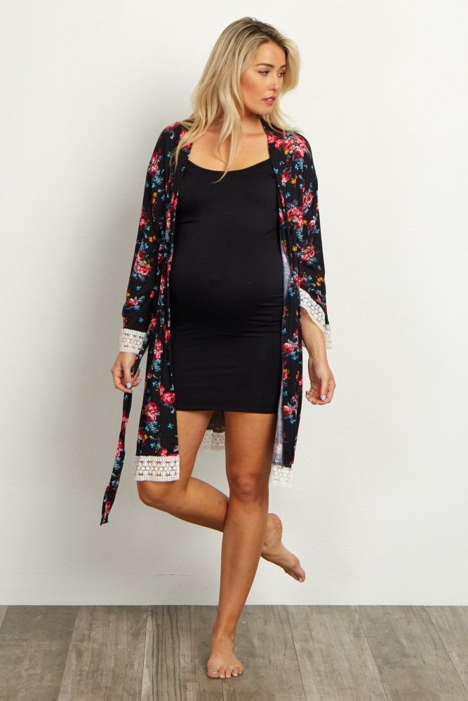 Black Floral Lace Trim Delivery/Nursing Maternity Robe | Maternity ...