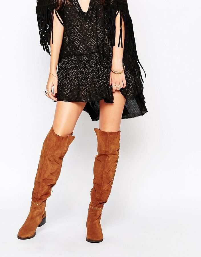 655c9c2cd Carvela Will Tan Studded Suede Flat Pull On Over The Knee Boots ...