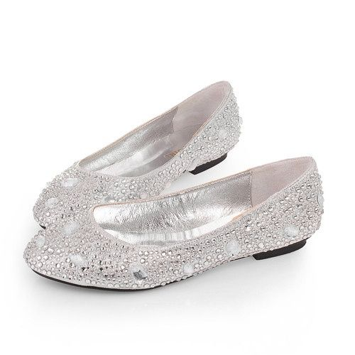 Bon Rhinestone Silver Wedding Evening Party Shoes Flat For Sale Online