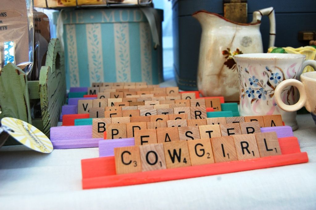 Scrabble tile signs. Earth Cookie Creations: Vintage Market My Booth