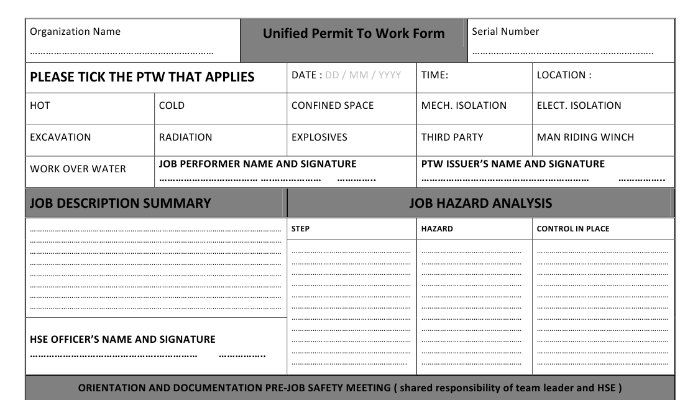 Unified Permit To Work Form Part One Of Three  Dr Bassam
