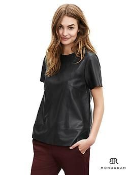 BR Monogram Leather Trapeze Top