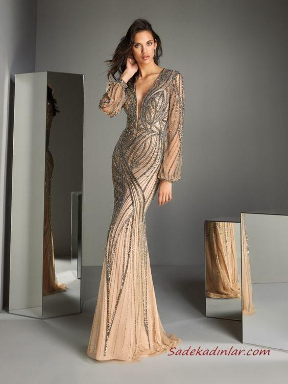 2020 Pronovias Uzun Abiye Elbise Modelleri Vizon Uzun Balik Tasli V Yakali Uzun Kollu Elbise Modelleri Elbise Aksamustu Giysileri