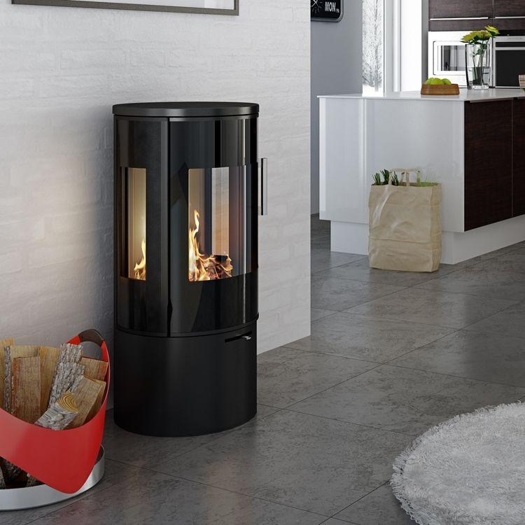 Simple Circular Stove With Glass Door Wood Burners Pinterest