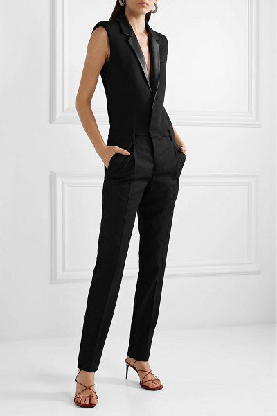 7202df2e668 Saint Laurent leather-trimmed grain de poudre wool jumpsuit. #saintlaurent # jumpsuits