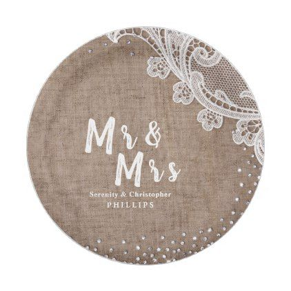 Burlap Lace silver glitter Mr & Mrs rustic wedding Paper Plate ...