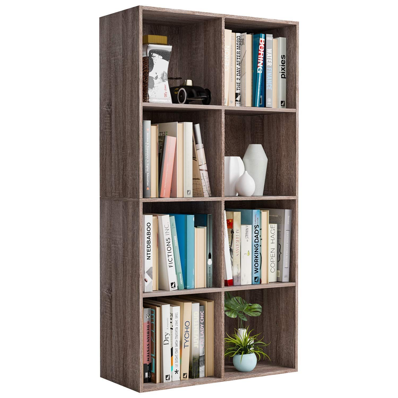 Homfa Bookcase Storage Shelf 4 Tier Wood Bookshelf Display Stand