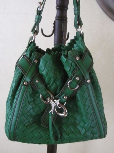 c8d5e4708c02 Francesco Biasia Green Leather Basket Weave Handbag