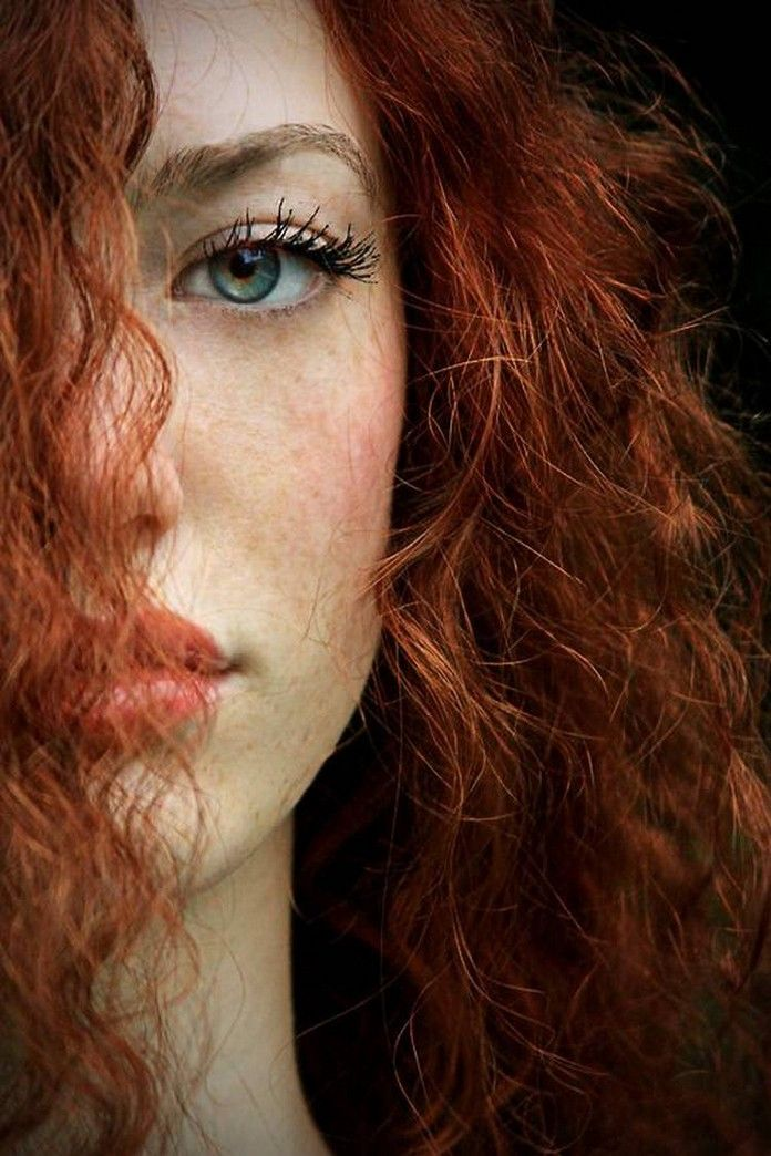 Redhead girl with red eyes absolutely not