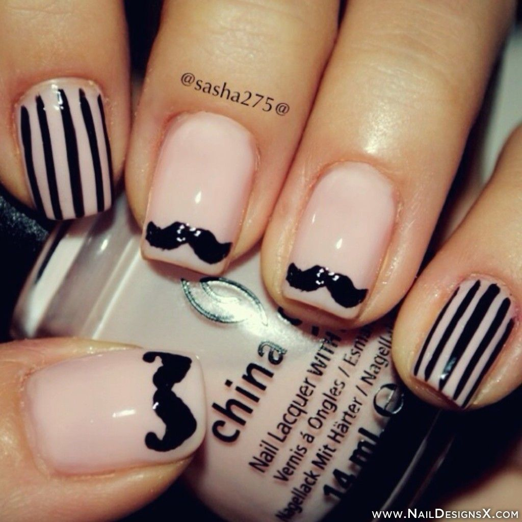 Mustache 02 Nail Art Mix Nail Designs Nail Art Pinterest