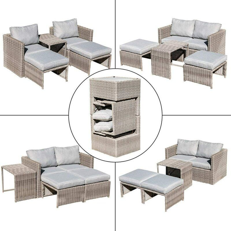 Osteen 5 Piece Rattan Sectional Seating Group With Cushions Outdoor Furniture Sets Seating Groups Outdoor Living Space