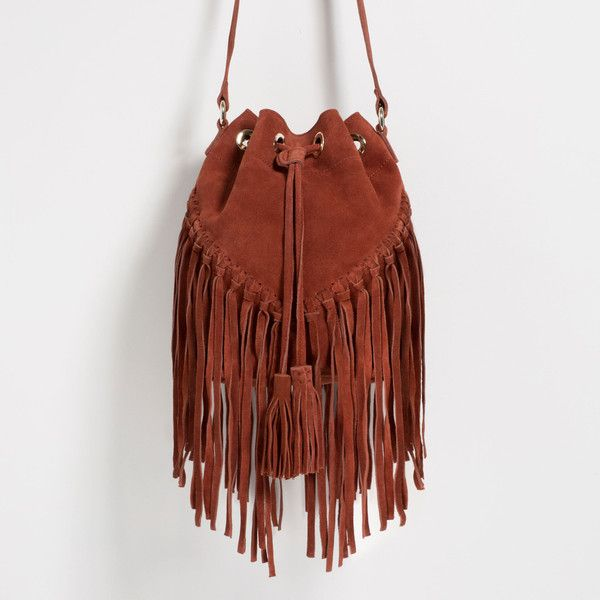 35981688f85 Zara Fringed Leather Bucket Bag ($90) ❤ liked on Polyvore featuring bags,  handbags, shoulder bags, brick, zara bag, fringe bag, leather handbags,  leather ...