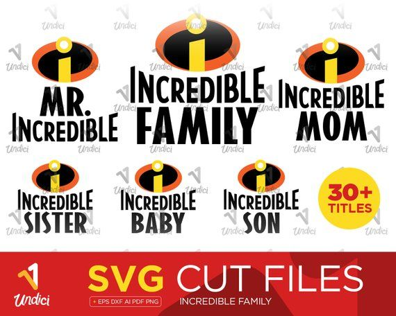 0c5bb203a The Incredibles SVG. Family Bundle SVG. Mr Incredible. Mrs Incredible.  Disney Pixar T-Shirt. SVG Cut