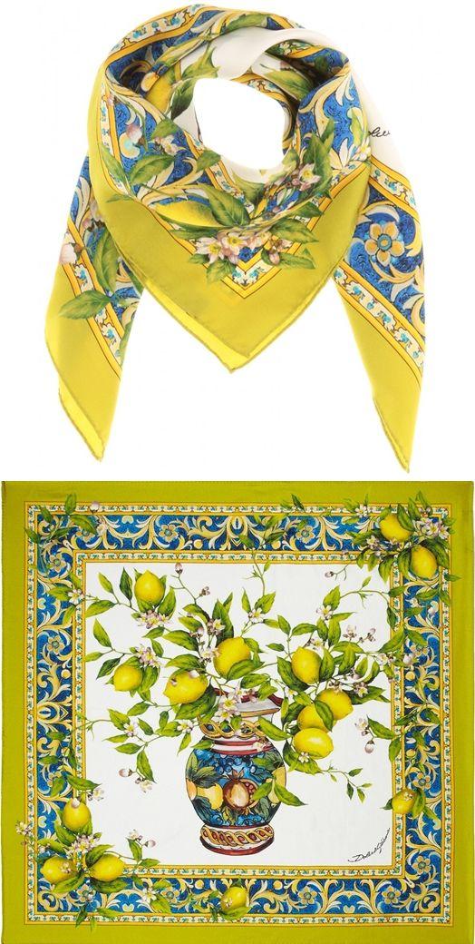 Dolce   Gabbana   Printed Silk Twill Scarf  yellow  Golden  Citrus   Dolce Gabanna  lemon  lemons,  limes  D G  Women sfashion, 2a70e38884e