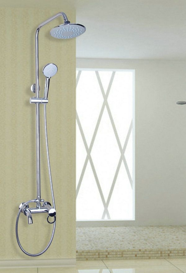 """Bathroom Chrome 8/"""" Round Shower Faucet Set Wall Mounted Mixer Tap W//Tub Spout"""