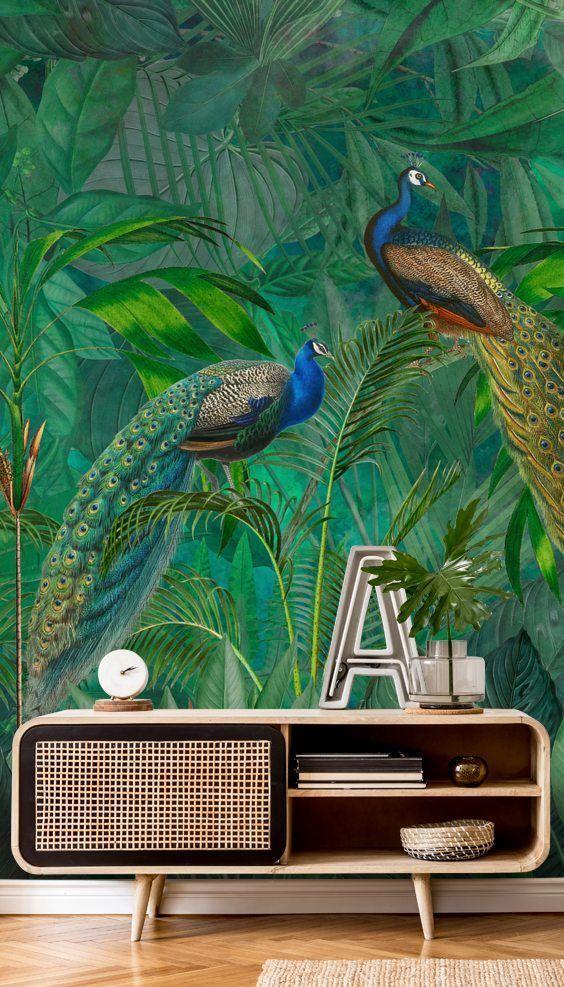Peacock Paradise Jungle in 2020 Jungle mural, Jungle
