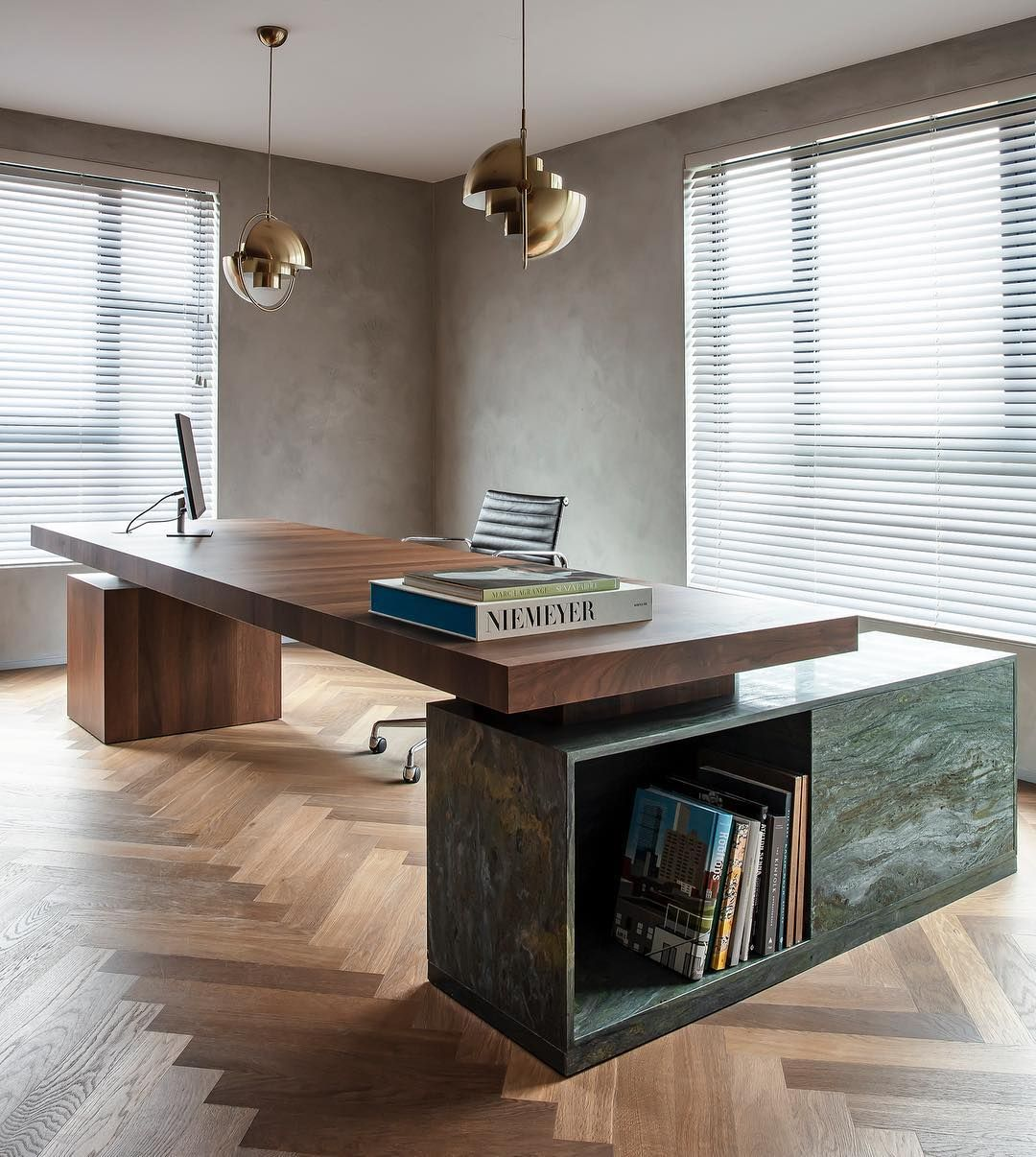 Our Version Of A Mid Century Inspired Executive Desk Walnut Veneer And Green Velvet Stone For The Win Stone B Office Desk Designs Marble Office Desk Interior