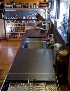 Salvaged The Slate From A Pool Table To Create A Sleek And Functional Stone  Countertop For