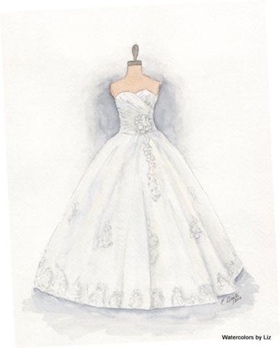 Custom Watercolor Wedding Gown Portrait Dress Painting Wedding