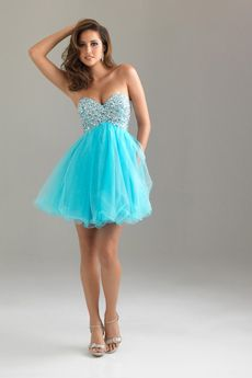 Blue Puffy Short Prom Dresses