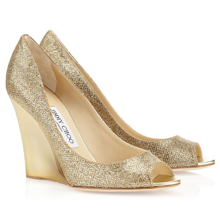 Jimmy Choo Gold Bello Wedges Wedding Shoes