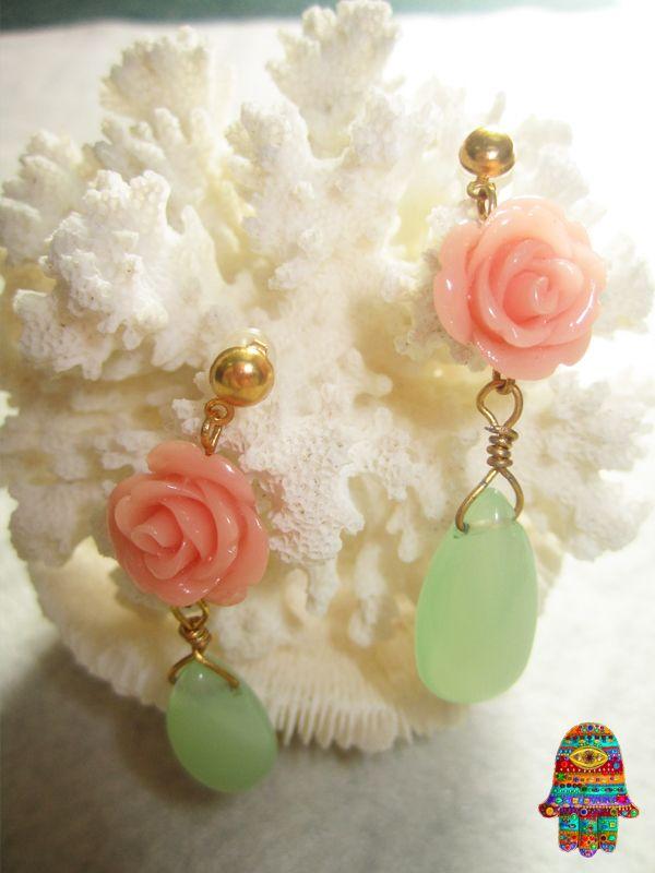 DIY Mint & peach earrings