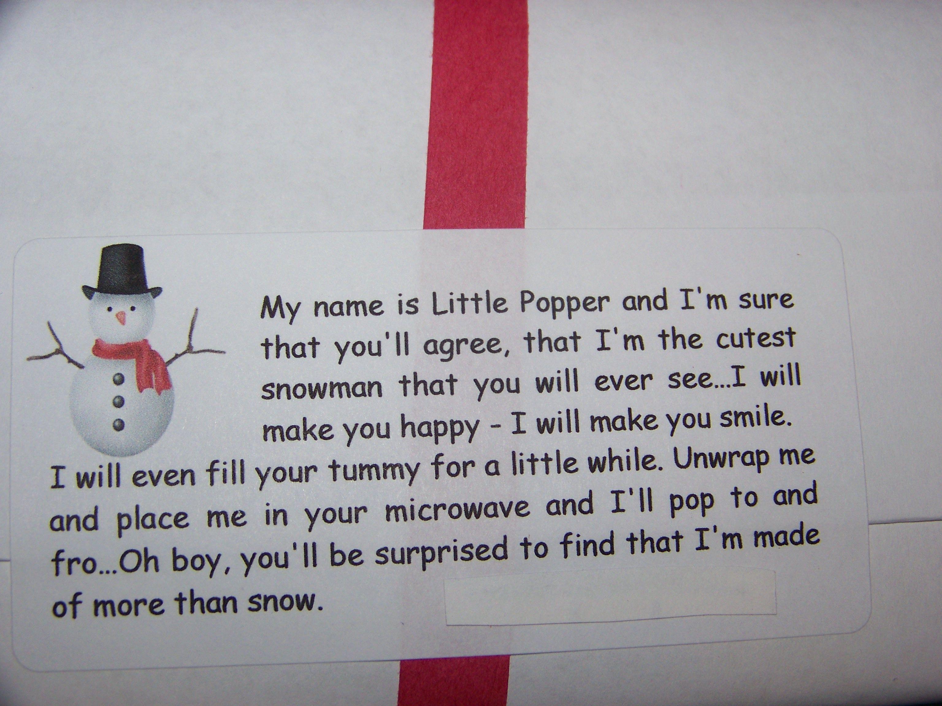 Snowman favor- Popcorn bag inside. Back side, with cute ...