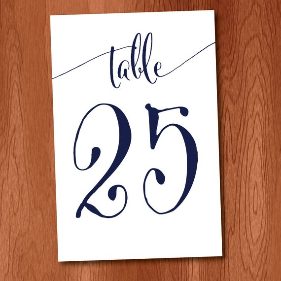 DIY Table Numbers For 4x6 Picture Frames Navy Ink, Instant