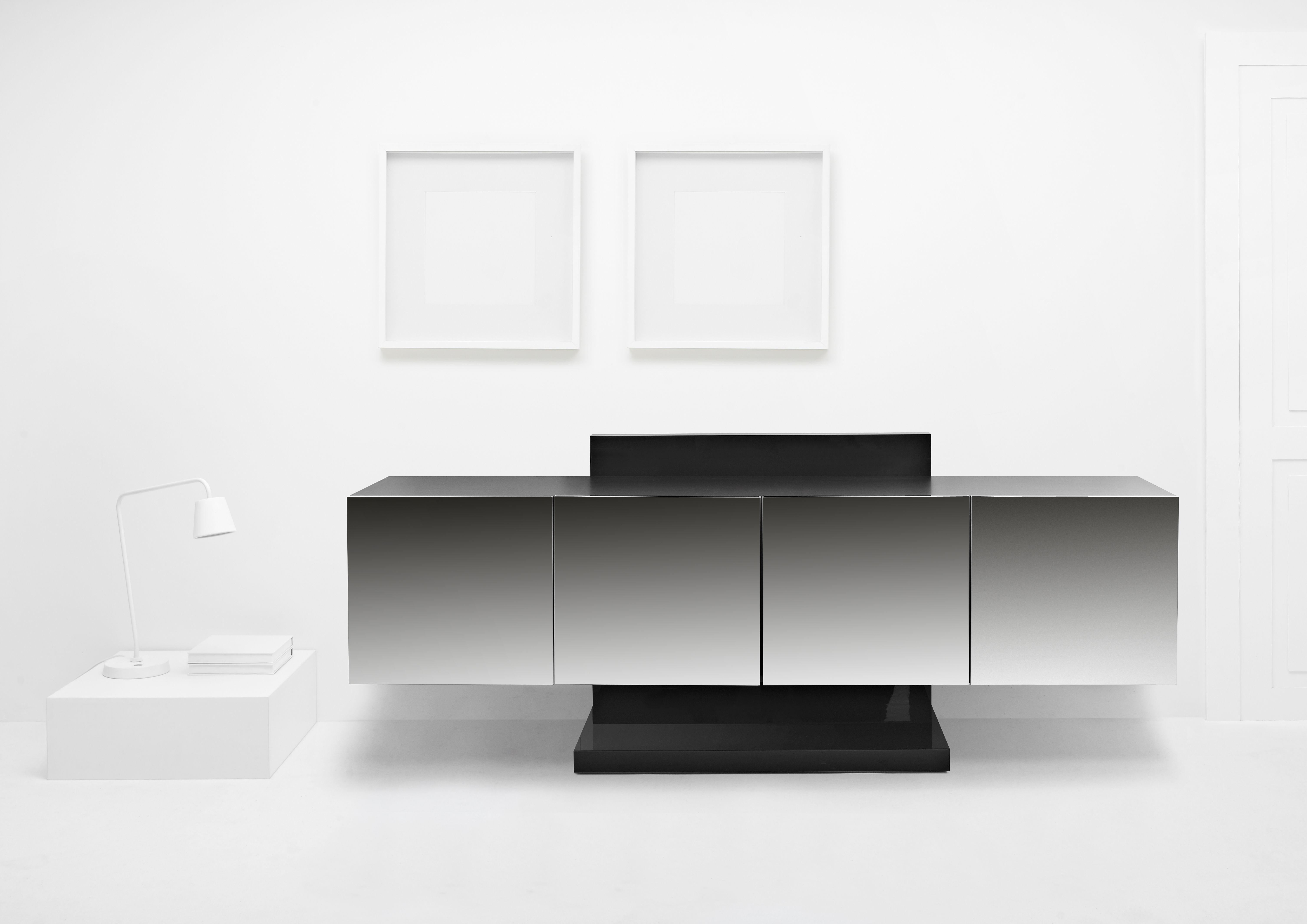 Soho, design Gianluigi Gorgoni. Lacquered MDF #wood #cabinet with  #inoxsteel doors. #minimal #contemporary #design. Ronda Design.