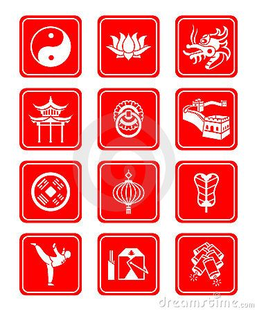Chinese culture icons by Sahua, via Dreamstime | Chinese Culture