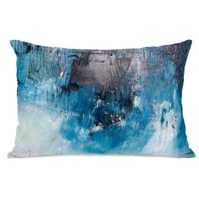 One Bella Casa Ocean Oil Painting Fleece Lumbar Pillow