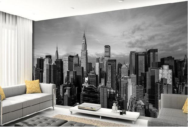 Wholesale Black and white 3d photo mural New York City