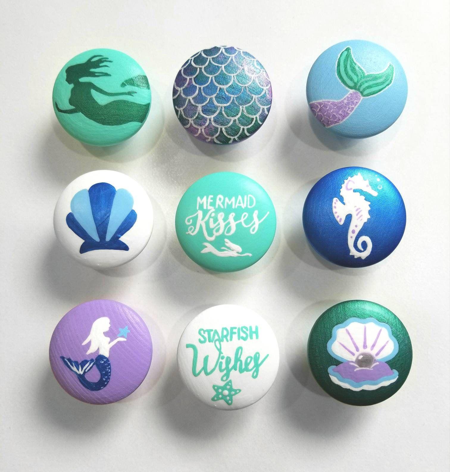 Mermaid Drawer Knob, Hand Painted Mermaid Ocean Drawer Pull, Mermaid Decor, Single Drawer Knob