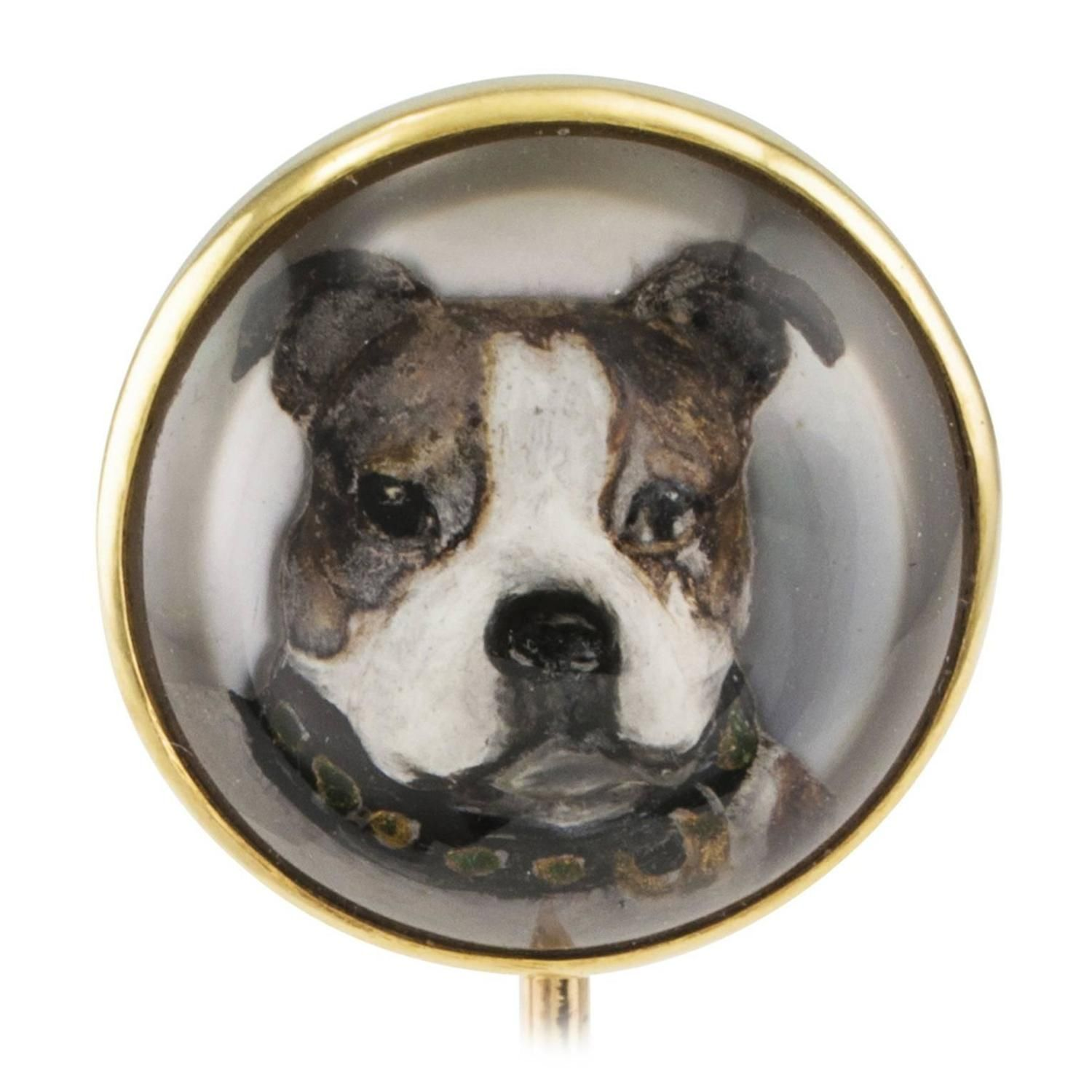 J E Caldwell Essex Crystal Boxer Dog Stick Pin From A Unique