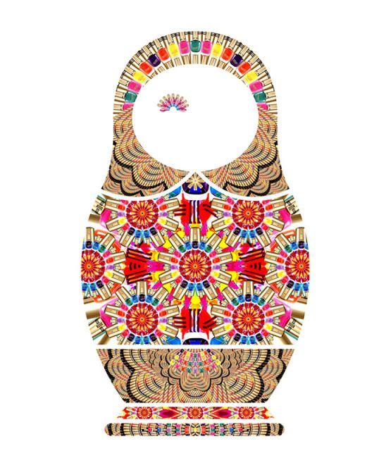 Kollektyon Matryoshkas- t shirt designs, cool digital collages-- this one is nail polish bottles!