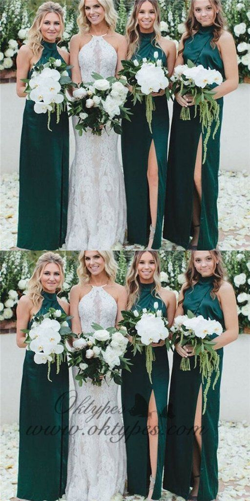 Sheath High Neck Long Cheap Dark Green Bridesmaid Dresses With Split, TYP1367 #bridesmaid#bridesmaiddresses#longbridesmaiddresses#wedding#2020bridesmaiddresses#simplebridesmaiddresses#cheapbridesmaiddresses#modestbridesmaiddresses#bridesmaiddressesmismatched#bohobridesmaiddress