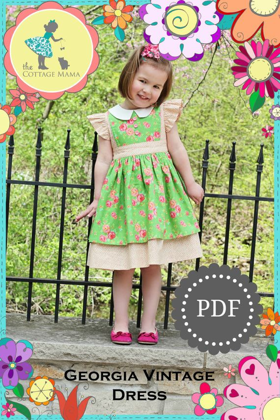 PDF Girls Dress Pattern - Georgia Vintage Dress Pattern, Size 6 ...