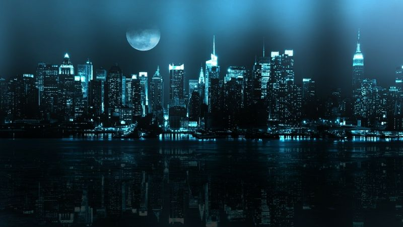 Gotham city background google search storytellinginspiration moon over new york city skyscrapers reflections free hd wallpaper voltagebd Gallery