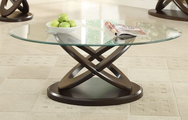 Casual Espresso Oval Glass Wood Coffee Table Coffee Table Oval Coffee Tables Home Coffee Tables