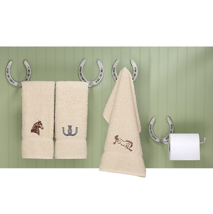 Horseshoe towel rack and toilet tissue holder for western style ...