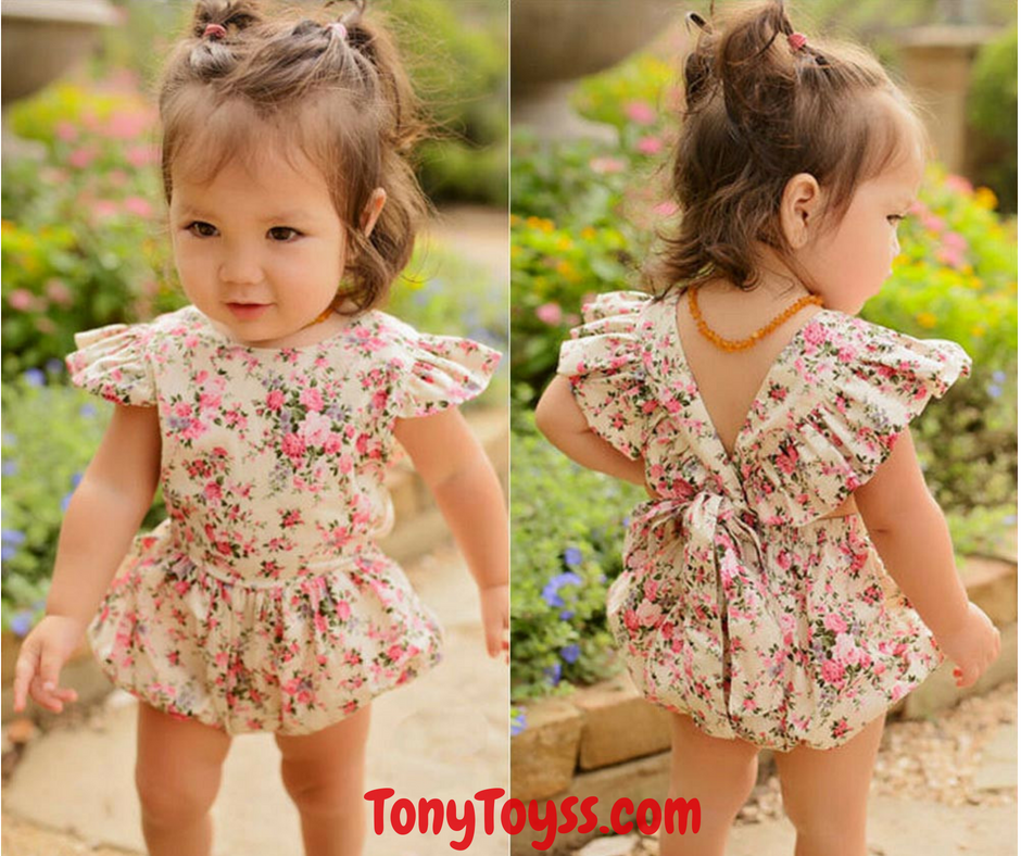 USA Newborn Infant Baby Girls Fly Sleeve Romper Bodysuit Jumpsuit Clothes Outfit