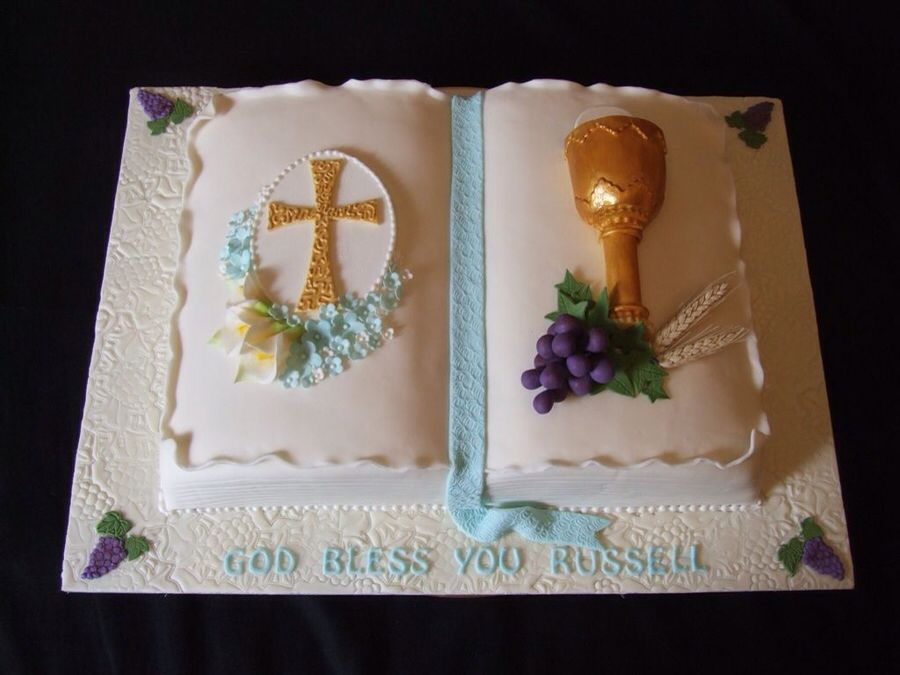 First communion cake | Communion | Communion cakes, Bible ...
