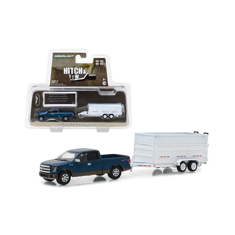 2016 Ford F 150 Pickup Truck And Dump Trailer Hitch Tow Series 12 1 64 Diecast Car Model By Greenlight Products Pickup Trucks Dump Trailers Trailer Hit