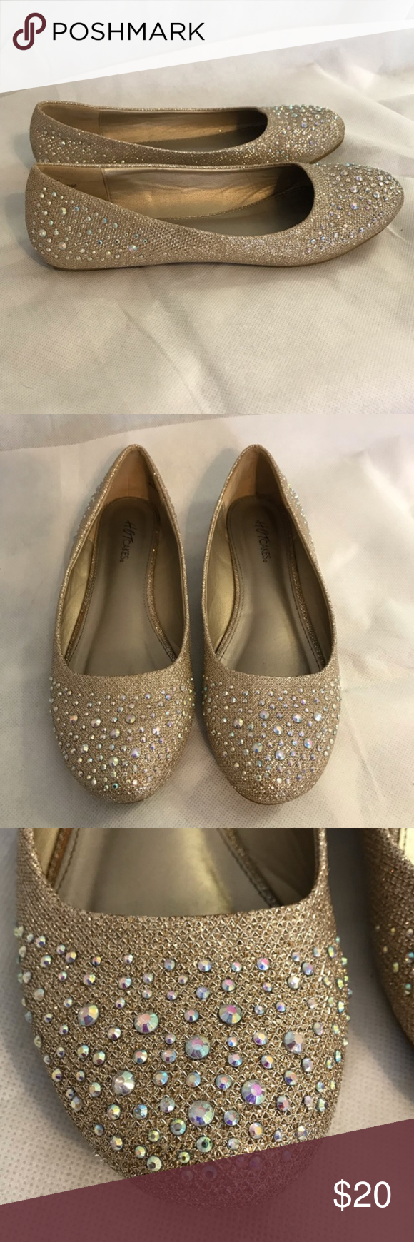 Hot Cakes Gold Rhinestone Formal Flats Shoes Hot Cakes Gold Rhinestone Formal Flats Shoes Size 8 Man made materials Worn once #1199 Hot Cakes Shoes Flats & Loafers
