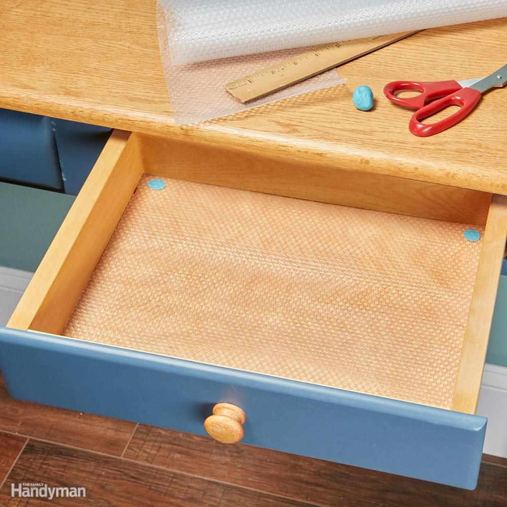 Installing Clear Plastic Nonsticky Shelf And Drawer Liner Is A Quick Inexpensive Project With Multiple B Diy Drawer Liners Kitchen Drawer Liners Drawer Liner