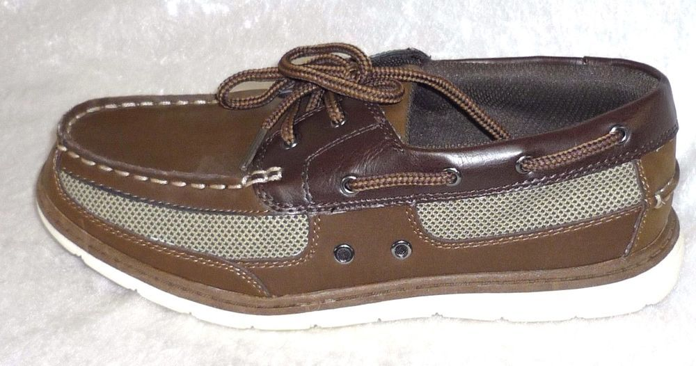 5d1cff5128b Sonoma Boys Boat Shoes Brown Lace Up Man Made Kids size 5 NEW 19.99 http