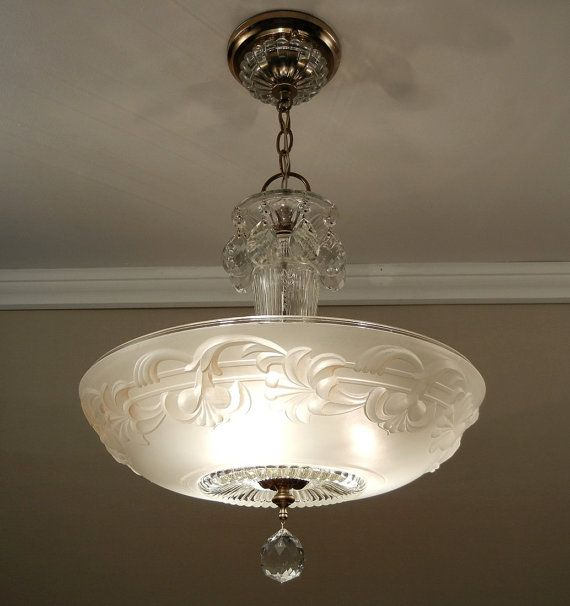 Large 15 Antique 1930s Victorian Ivory Glass Ceiling Light Fixture
