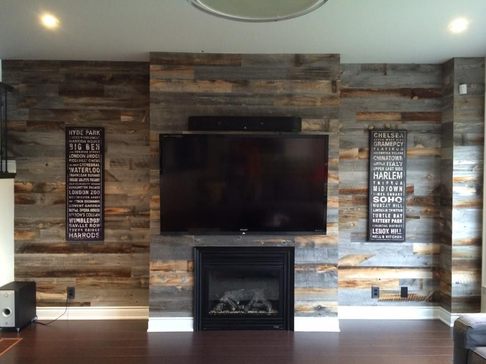 Reclaimed Weathered Wood Accent Walls In Living Room Home