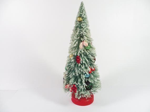 Vintage Bottle Brush Christmas Tree - Vintage Decorated Bottle Brush Tree Wood Base